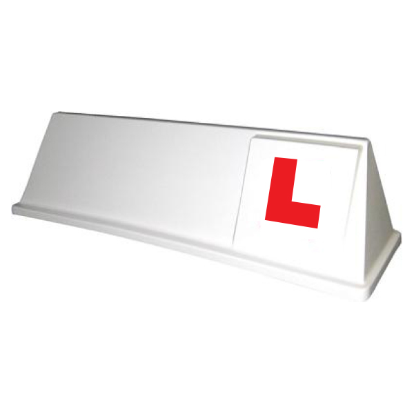 White Boxer Roof Sign with L-Plates Applied