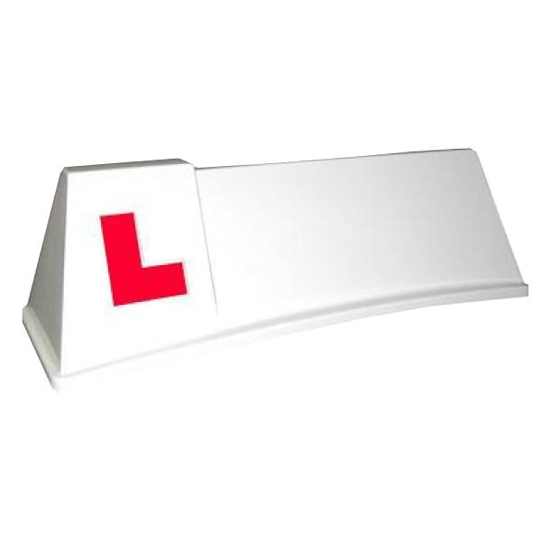 White Mini Professional Roof Sign with L-Plates Applied