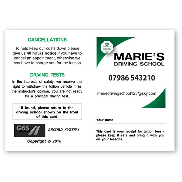 Personalized Pupil Appointment Cards Style F